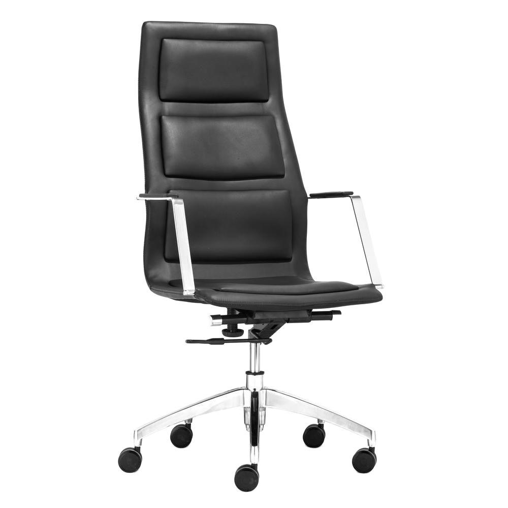 ZUO Luminary Black Leatherette High Back Office Chair