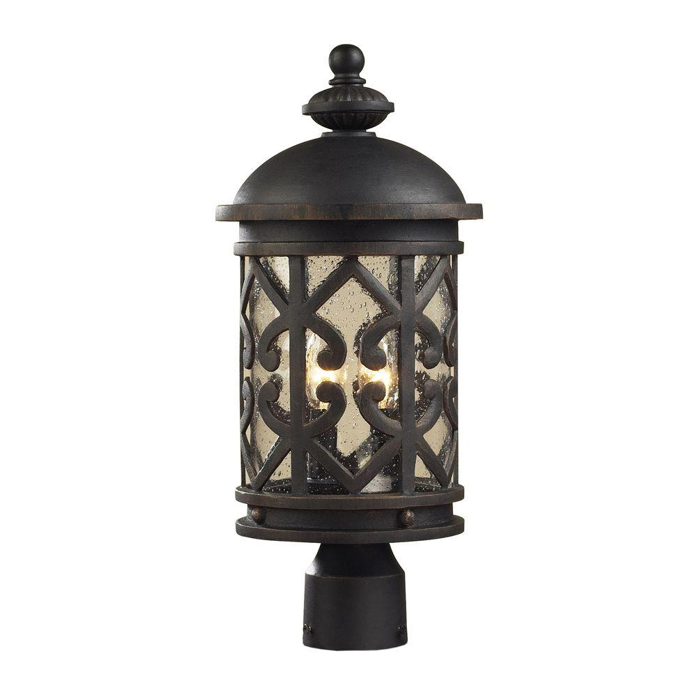 Titan Lighting Tuscany Coast 2-Light Outdoor Weathered Charcoal Post Light