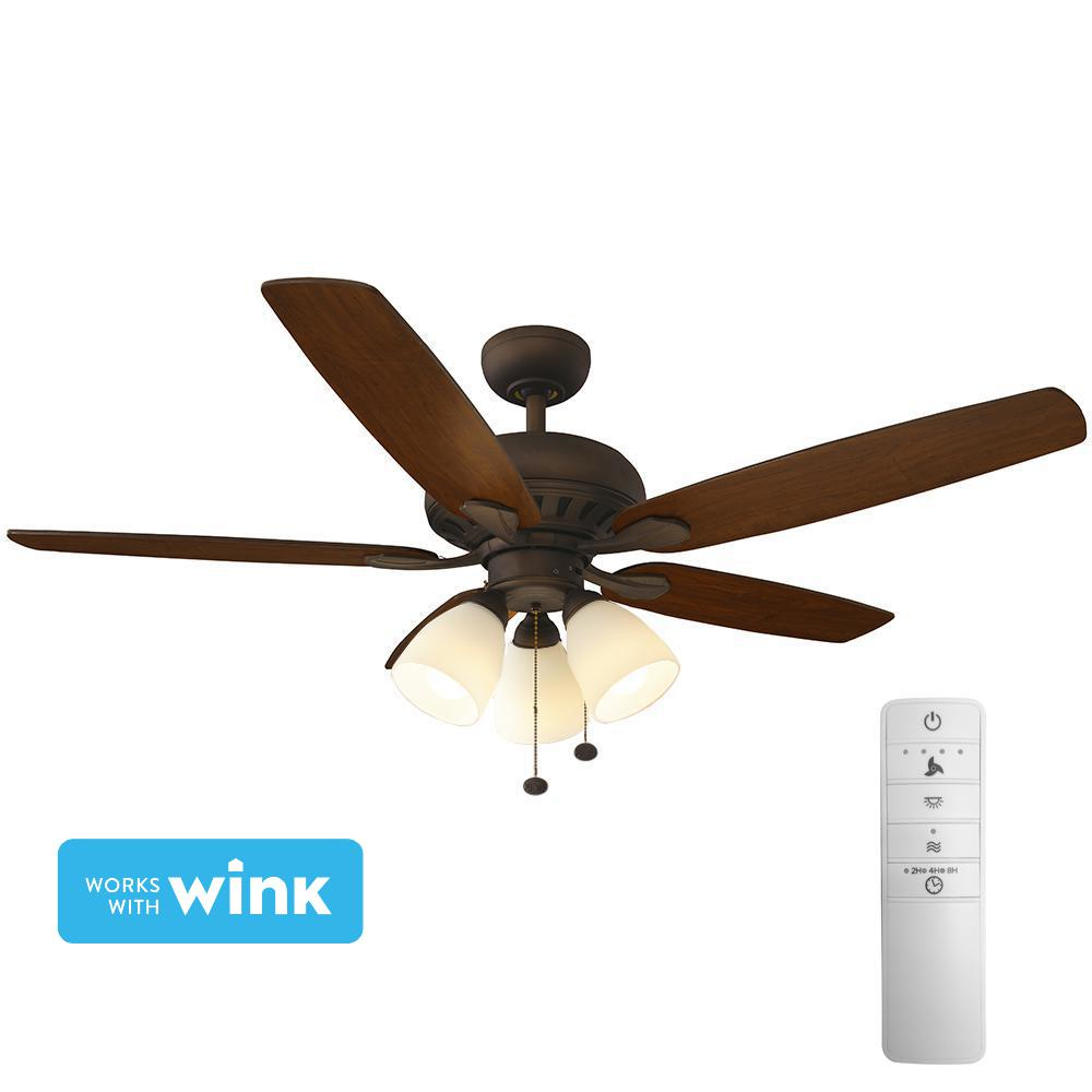 Hampton Bay Rockport 52 In Led Indoor Oil Rubbed Bronze Smart Ceiling Fan With Light