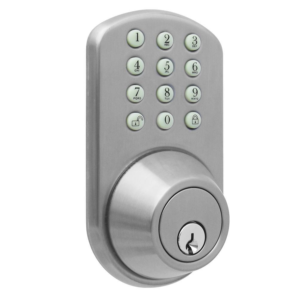 Keyless Door Entry >> Milocks Keyless Entry Satin Nickel Deadbolt Tf 02sn The Home Depot