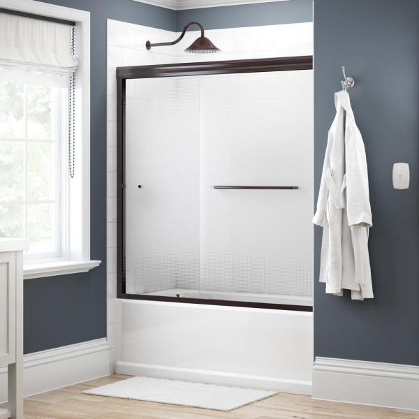Simplicity 60 in. x 58-1/8 in. Semi-Frameless Traditional Sliding Bathtub Door in Bronze with Droplet Glass
