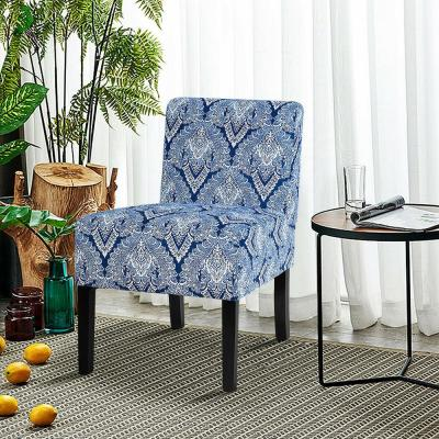 Upholstered Sapphire Medallion Pattern Accent Fabric Dining Chair