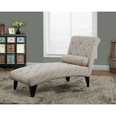 Sandstone and Gray Cotton Chaise Lounge
