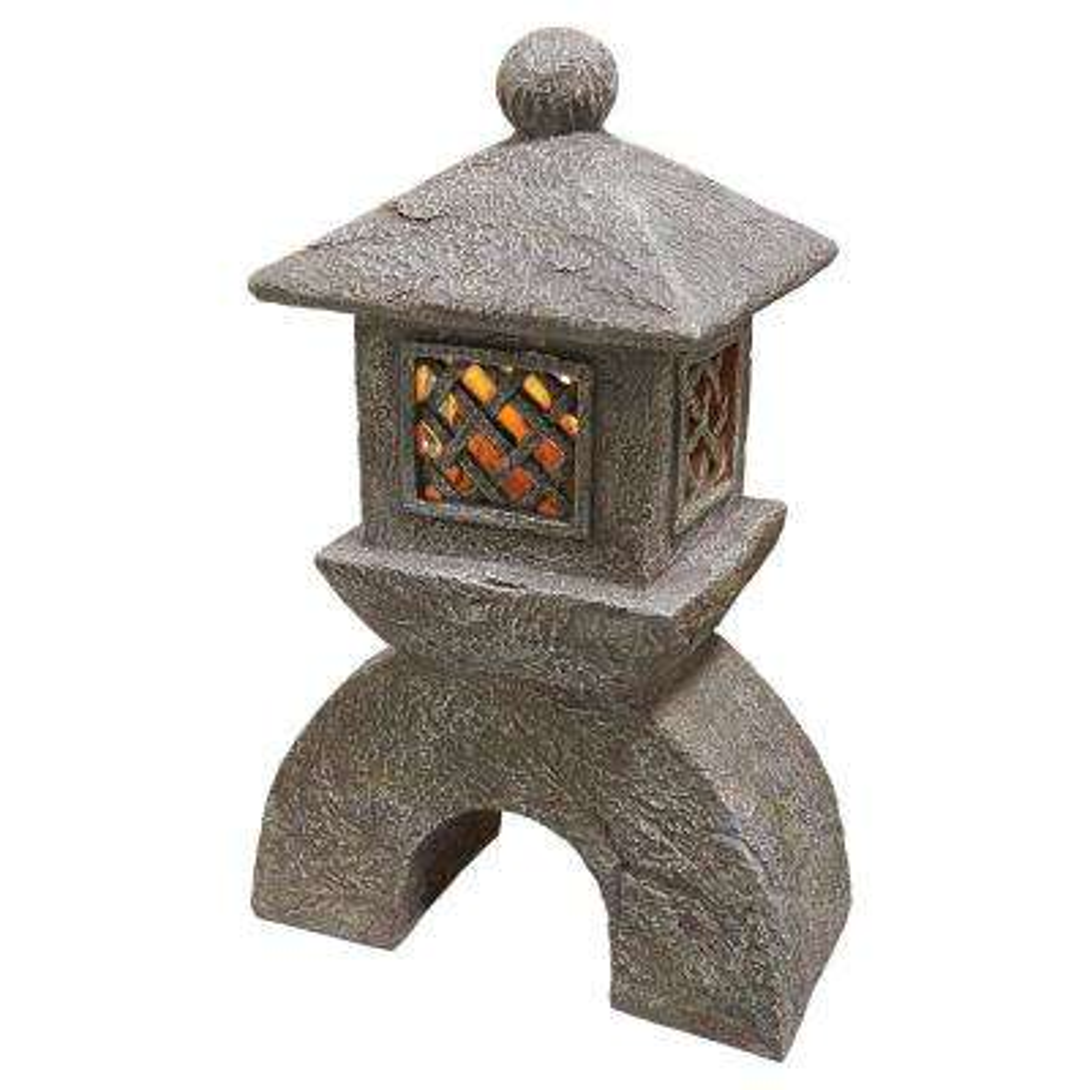 Japanese Pagoda Illuminated Lantern Statue Set (2-Piece)