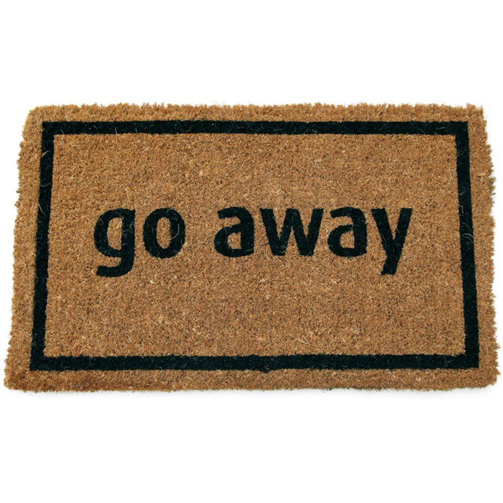 Entryways Go Away Black 17 In X 28 Non Slip Coir Door Mat