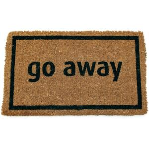 Entryways Go Away Black 17 inch x 28 inch Non Slip Coir Door Mat by Entryways
