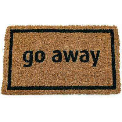 Go Away Black 17 in. x 28 in. Non Slip Coir Door Mat