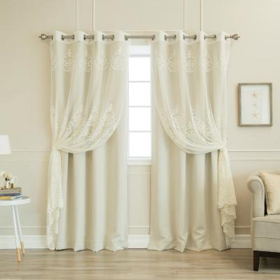 52 in. W x 84 in. L uMIXm Sheer Agatha and Blackout Curtains in Ivory (4-Pack)
