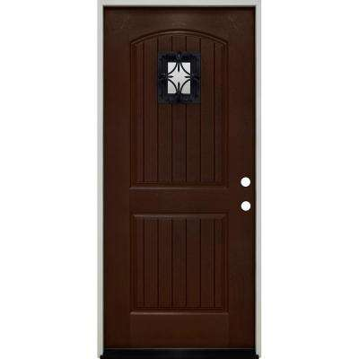 36 in. x 80 in. Oxford Speak Easy Left-Hand Inswing Chestnut Mahogany Fiberglass Prehung Front Door 4-9/16 Frame