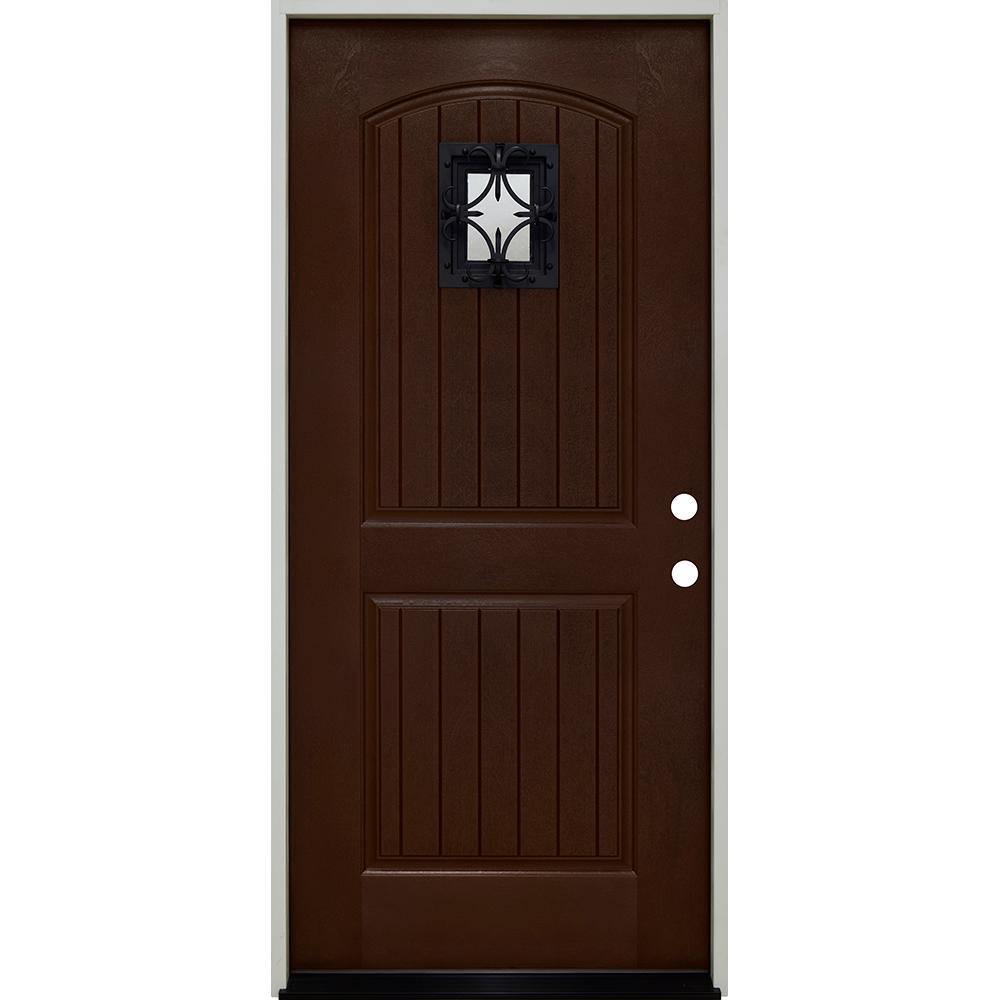 36 in. x 80 in. Oxford Speak Easy Left-Hand Inswing Chestnut Mahogany Fiberglass Prehung Front Door 4-9/16 Frame