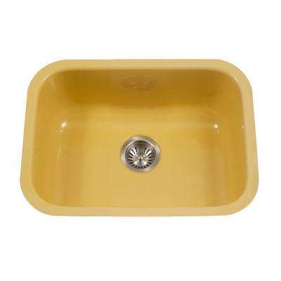 Porcela Series Undermount Porcelain Enamel Steel 23 in. Single Bowl Kitchen Sink in Lemon