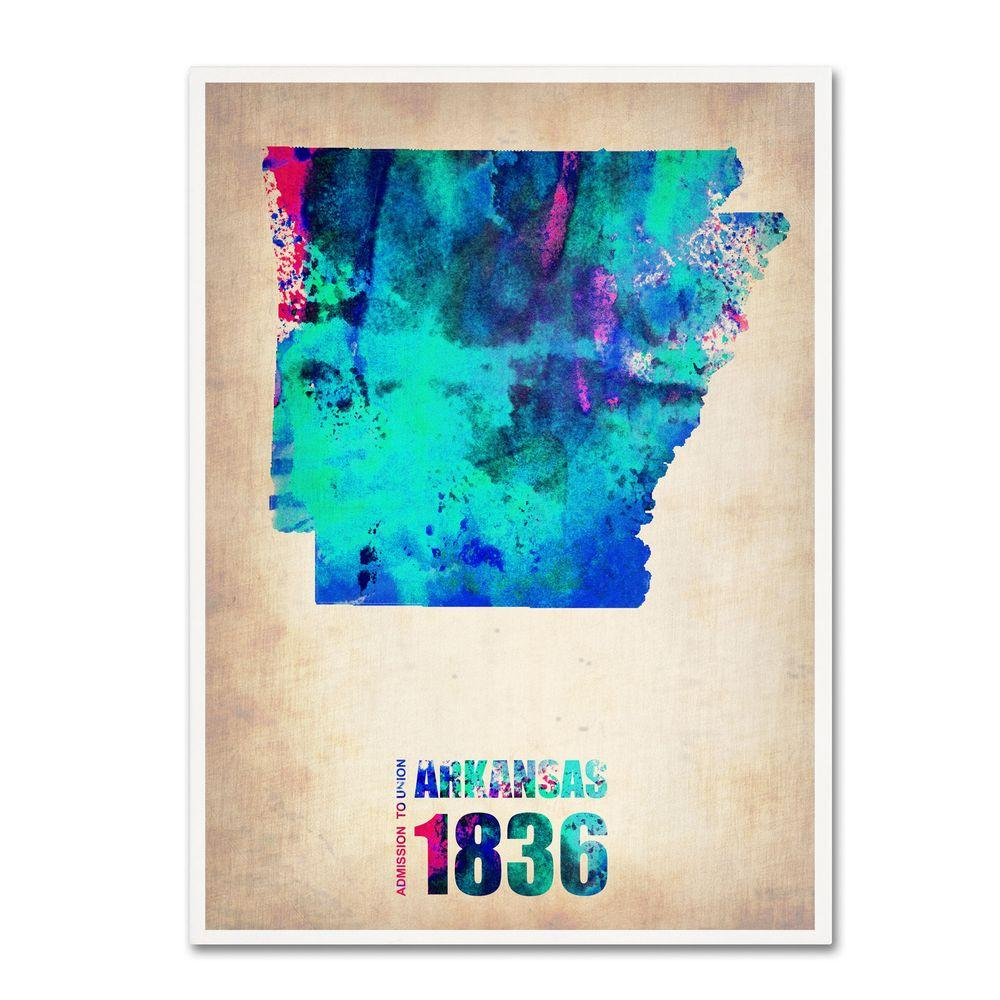 19 in. x 14 in. Arkansas Watercolor Map Canvas Art