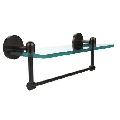 Tango 16 in. L  x 5 in. H  x 5 in. W Clear Glass Vanity Bathroom Shelf with Towel Bar in Oil Rubbed Bronze