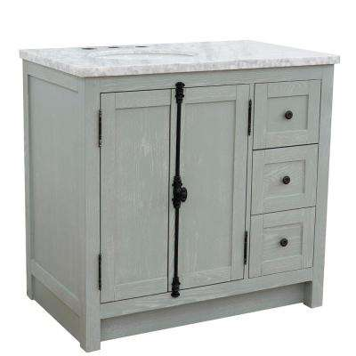 Plantation 37 in. W x 22 in. D x 36 in. H Bath Vanity in Gray Ash with White Marble Vanity Top and Left Side Oval Sink