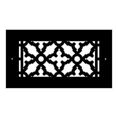 Scroll Series 8 in. x 4 in. Cast Iron Grille, Black with Mounting Holes
