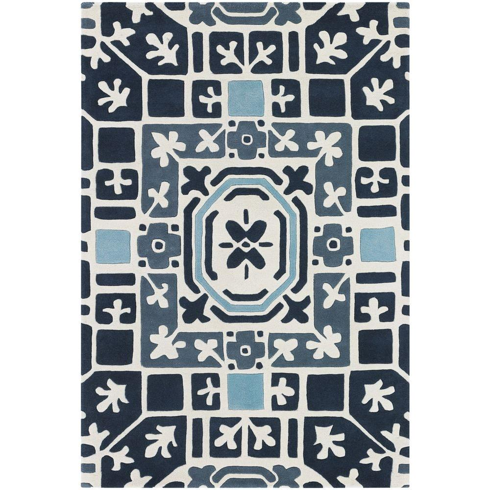 Parson Blue/White/Grey 5 ft. x 7 ft. 6 in. Indoor Area