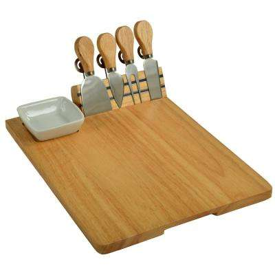Windsor Hardwood Cheese Board with 4 Tools, Ceramic Bowl and Cheese Markers