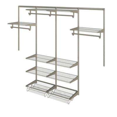 Closet Culture 16 in. x 96 in. W x 78 in. H Wire Closet System with 8 Champagne Nickel Shelves