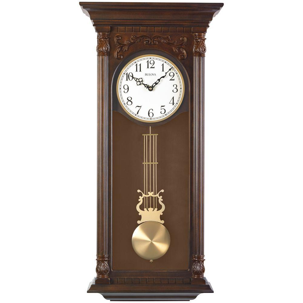 Bulova 3375 In H X 16 In W Pendulum Chime Wall Clock C3514 The