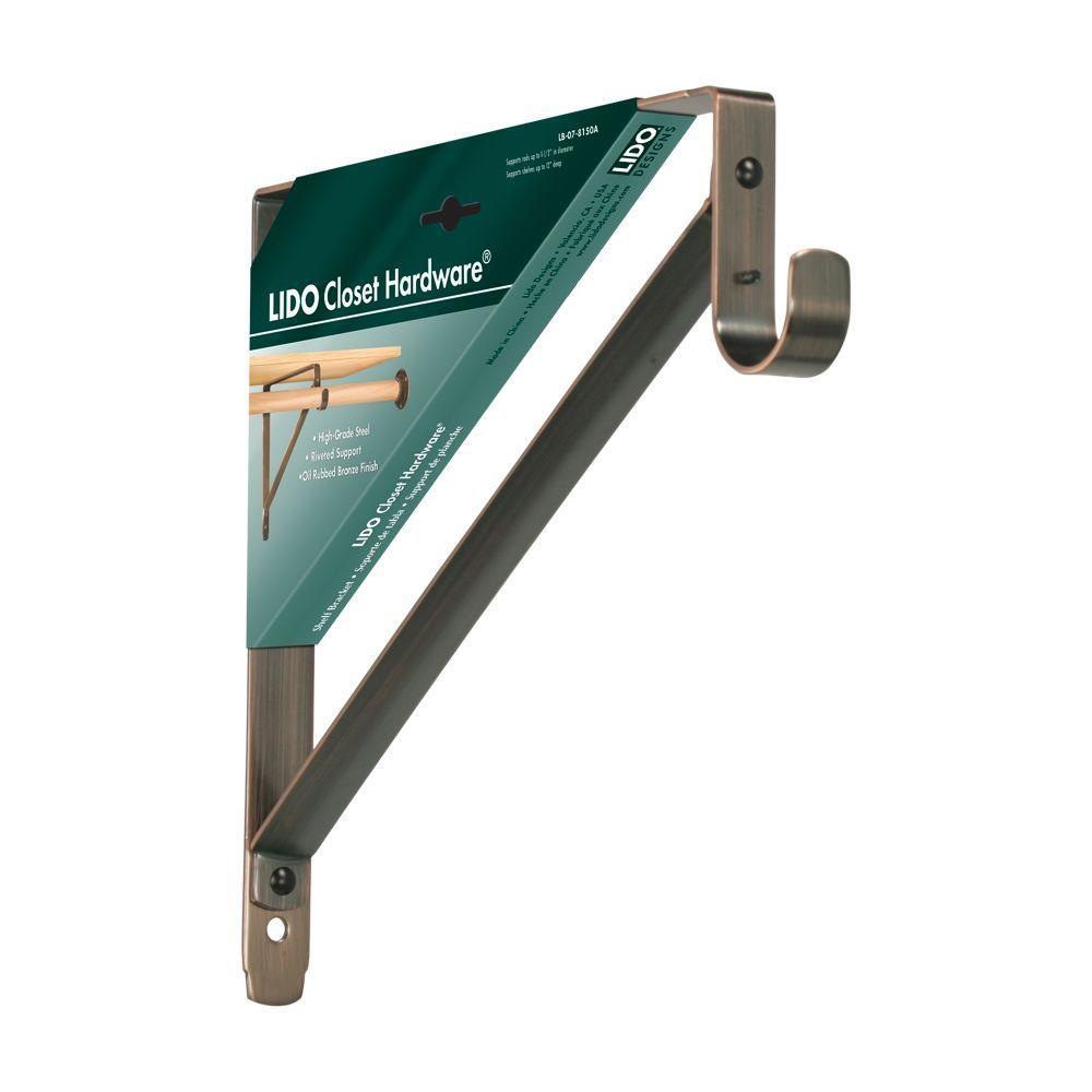 12 in. x 11 in. Copper Oil-Rubbed Bronze Heavy-Duty Shelf and Rod Bracket