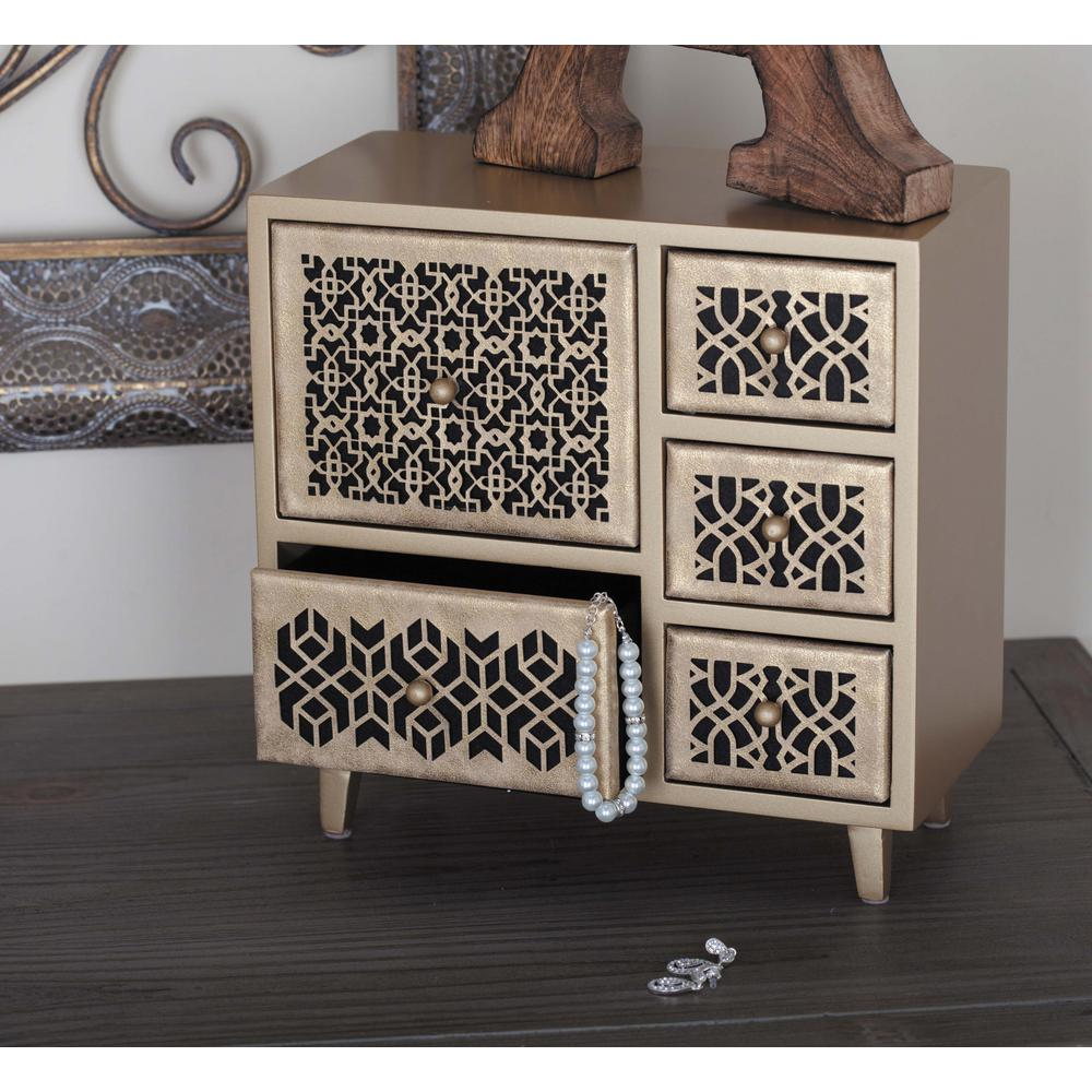 10 in. x 10 in. 5-Drawer Wooden Gold Lattice Jewelry Box