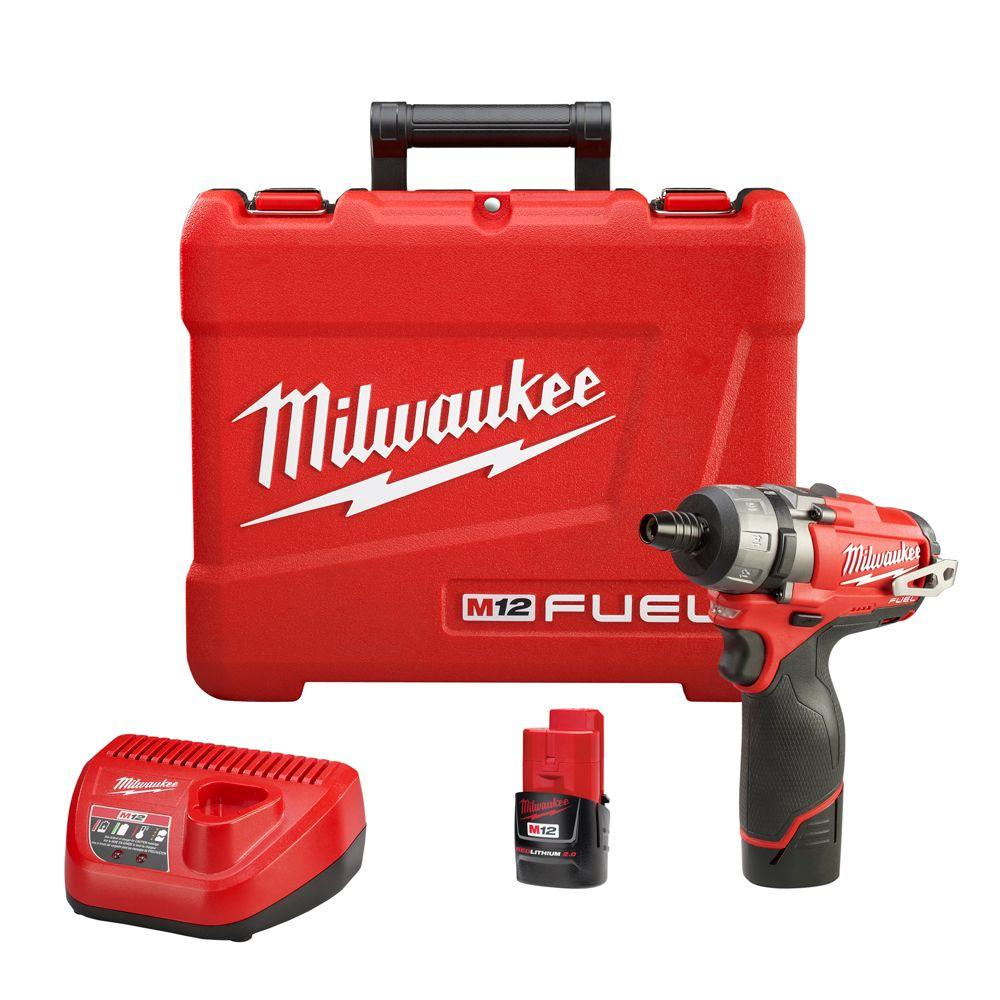Milwaukee M12 FUEL 12-Volt Cordless Brushless 1/4 in. Hex 2-Speed Screwdriver Kit