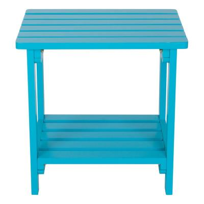 Turquoise Rectangular Wood Side Table