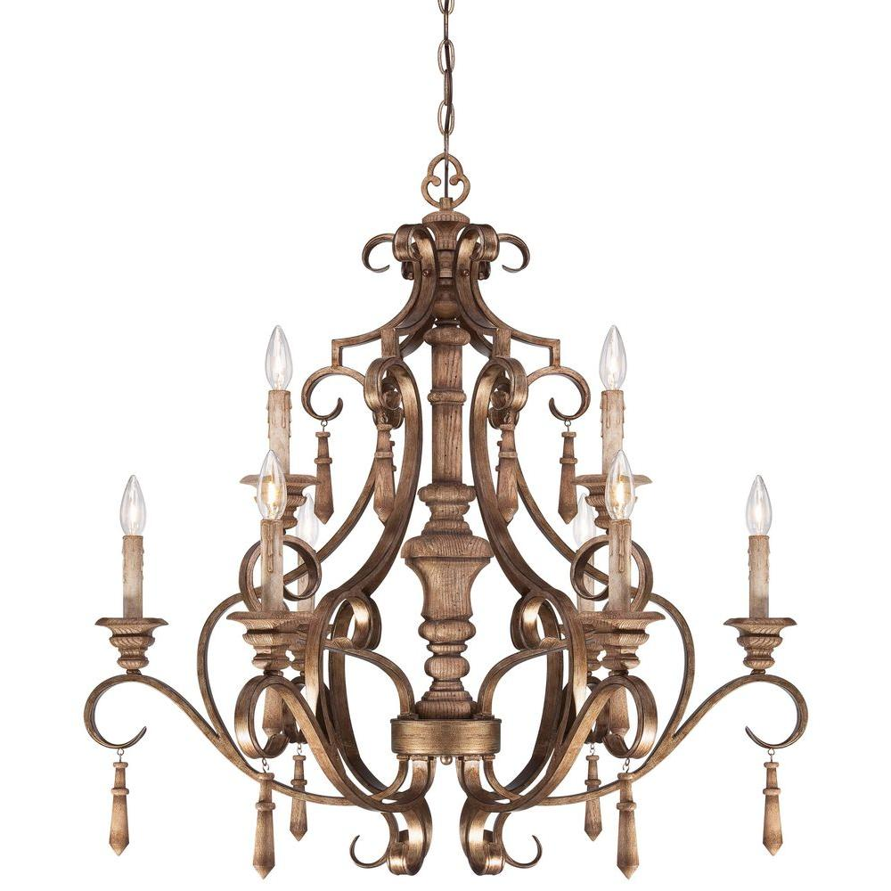 Minka Lavery Abbott Place 9-Light Classic Oak Patina Chandelier