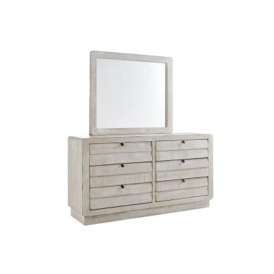 Bliss 6-Drawer Gray Chalk Dresser with Mirror 73 in. H x 66 in. W x 19 in. D