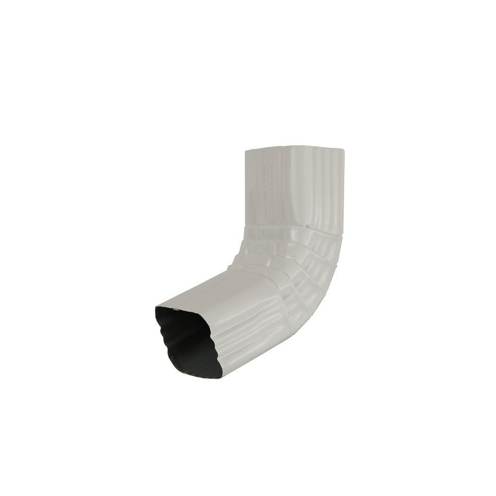 3 in. x 4 in. White Aluminum Downspout 30 Degree A