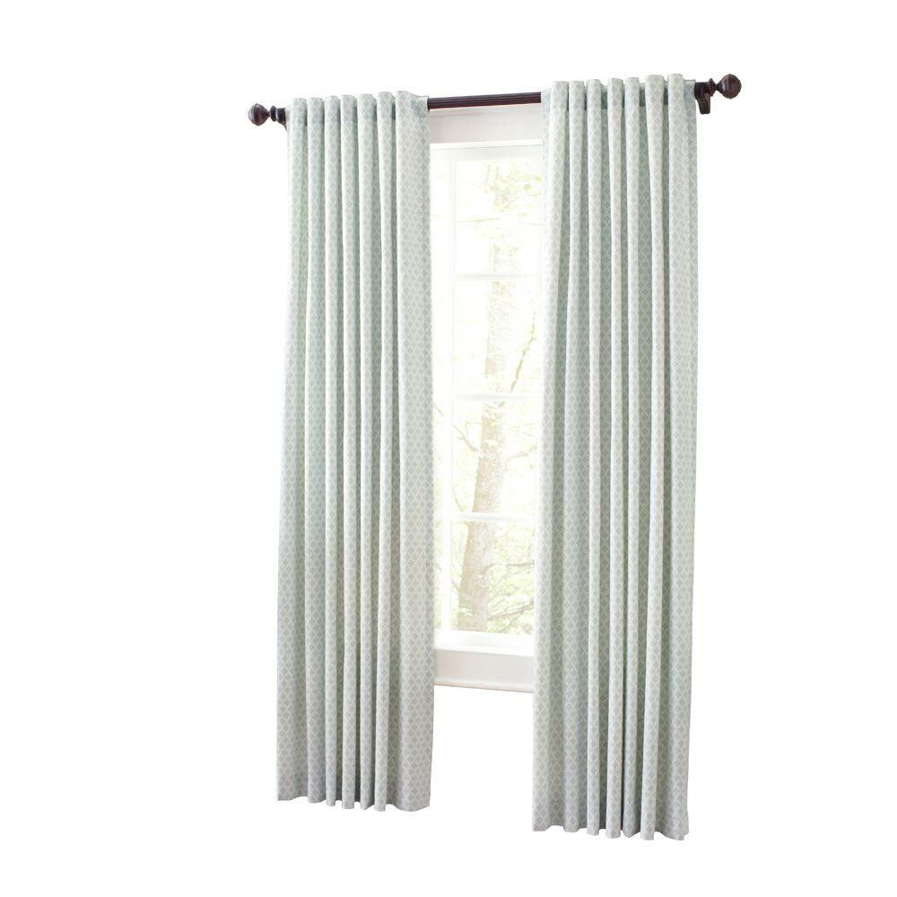 Moroccan Geo Light Filtering Window Panel In River Mist 50 In W X 108 In L 1622319 The Home Depot