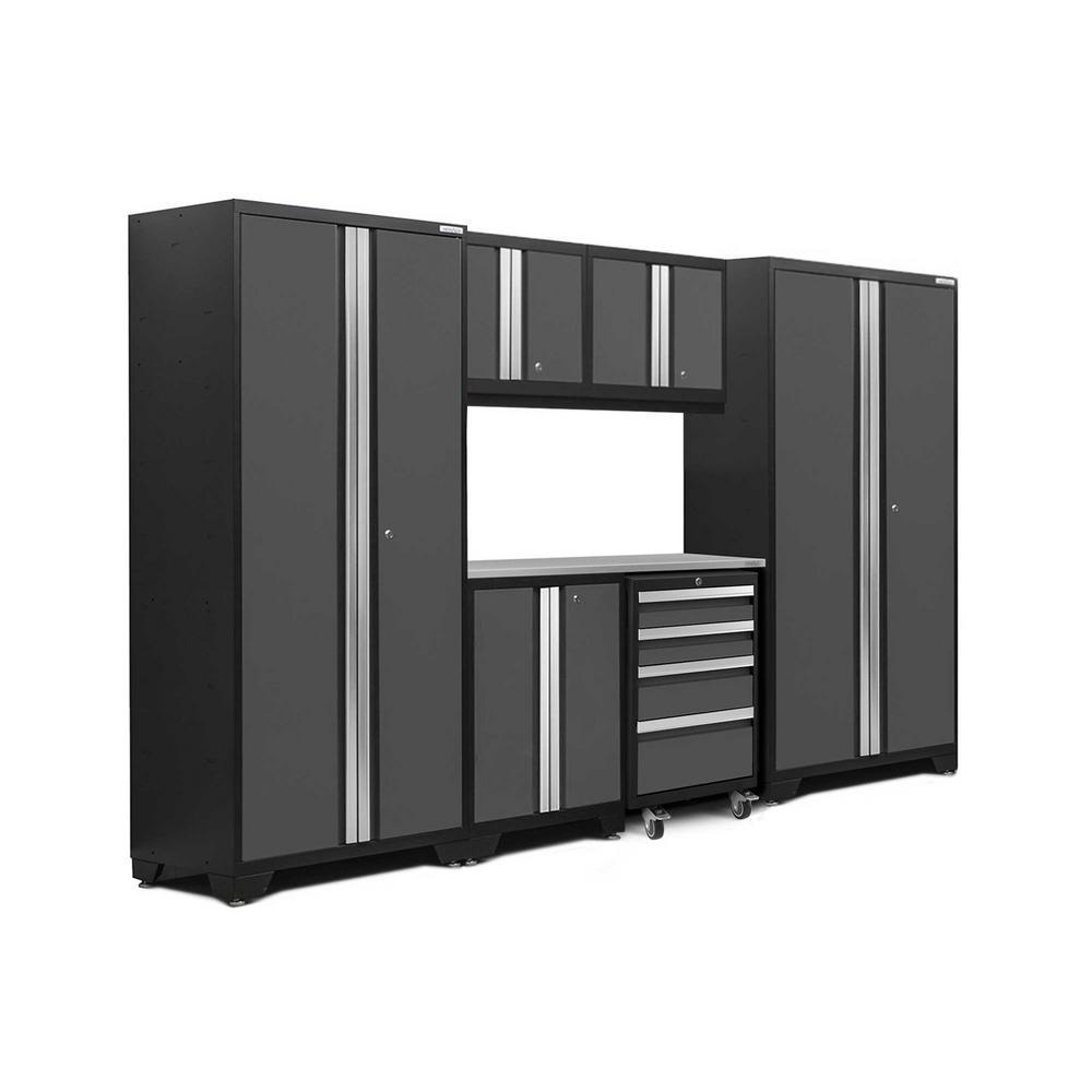 Bold 3.0 77.25 in. H x 108 in. W x 18 in. D 24-Gauge Welded Steel Stainless Steel Worktop Cabinet Set in Gray (7-Piece)