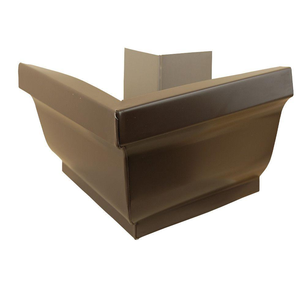 Amerimax Home Products 5 In Musket Brown Aluminum Outside Mitre Box 5otmmb The Home Depot