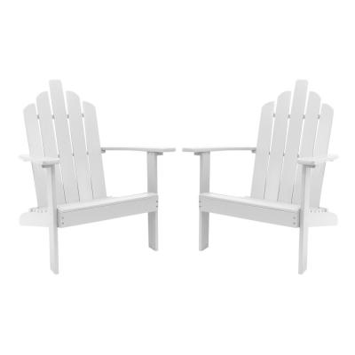 Marley White Wood Adirondack Outdoor Patio Chair (2-Pack)
