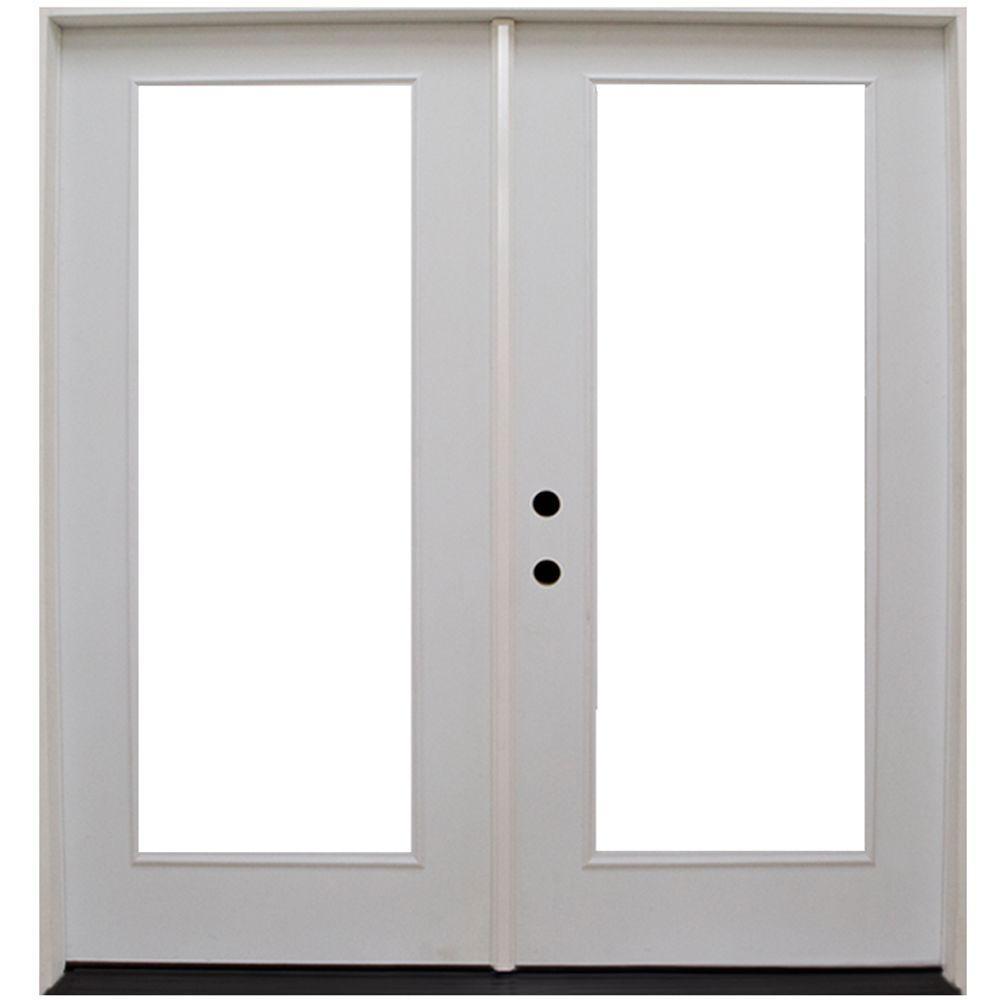 Steves & Sons 64 in. x 80 in. Primed White Fiberglass Prehung Right-Hand Inswing Full Lite Patio Door