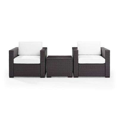 Biscayne 3 Piece Wicker Outdoor Seating Set with White Cushions