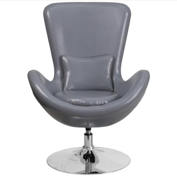 Flash Furniture Gray Leather Egg Series Reception-Lounge-Side Chair CH162430GYLEA
