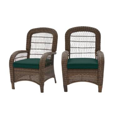 Beacon Park Brown Wicker Outdoor Patio Captain Dining Chair with CushionGuard Charleston Blue-Green Cushions (2-Pack)