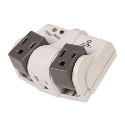 3-Outlet Swivel Surge Tap with Surge Protection - White and Grey (2-Pack)