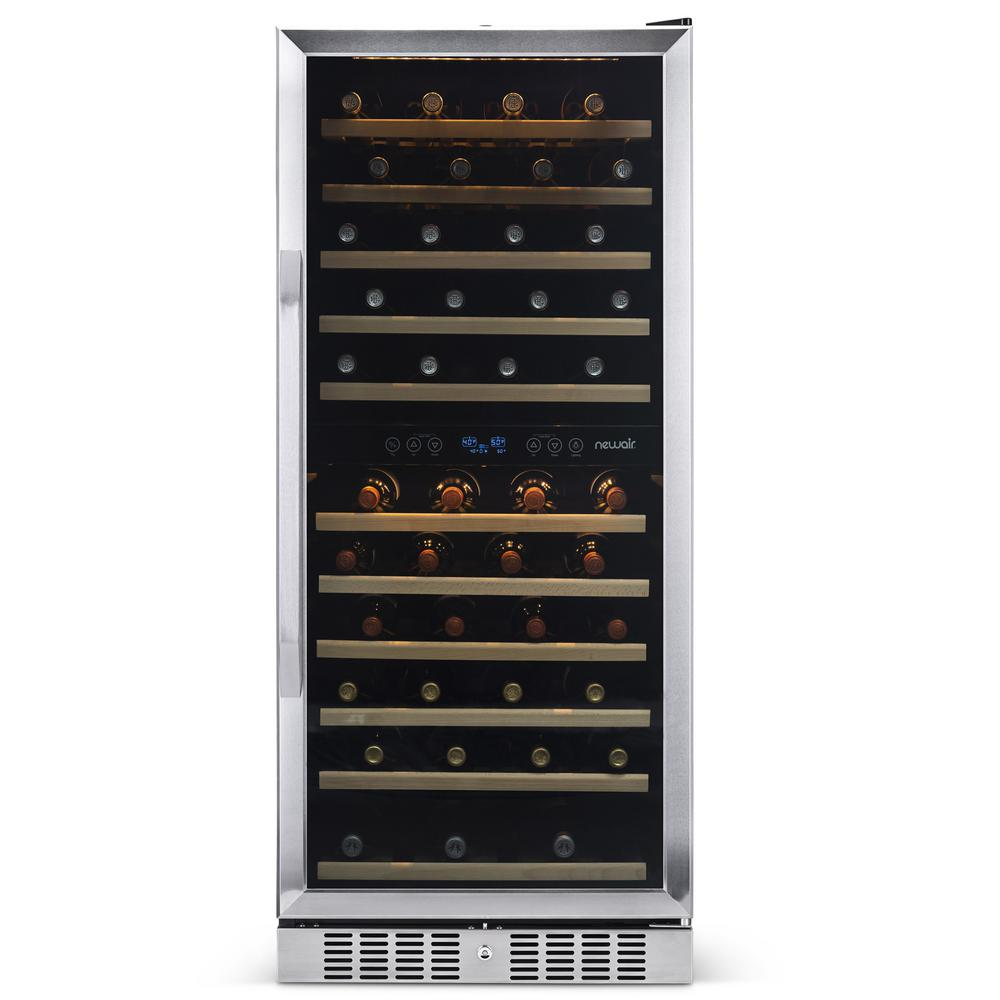 NewAir Dual Zone 116-Bottle Built-In Wine Cooler Fridge with Smooth Rolling Shelves and Quiet Operation - Stainless Steel