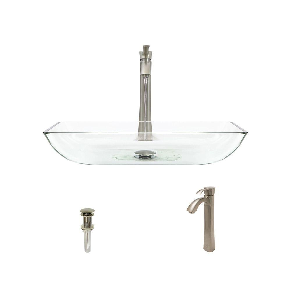 Glass Vessel Sink in Crystal with 726 Faucet and Pop-Up Drain