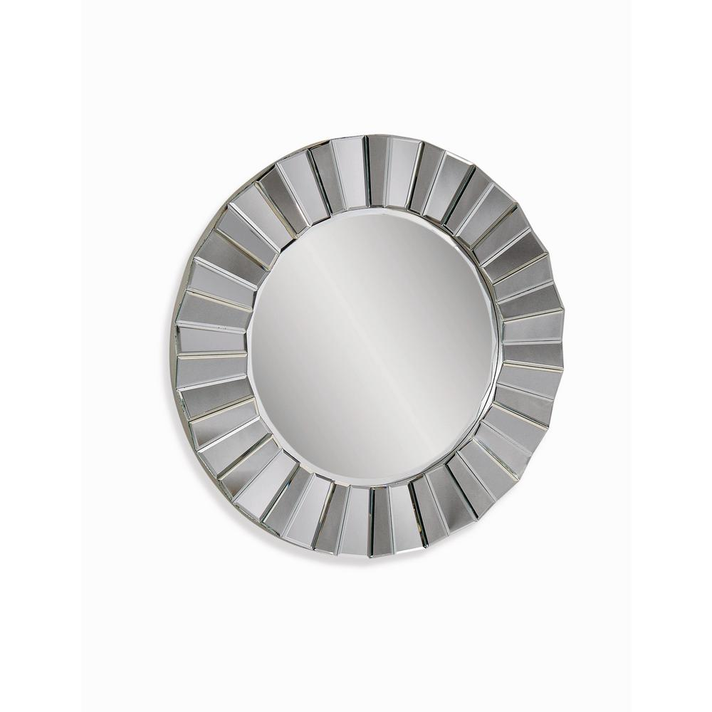 BASSETT MIRROR COMPANY Parker Decorative Wall Mirror The Bassett Mirror M3200B is constructed using a wood frame. The frame is covered with individual beveled mirror panels arranged in a  pleated  design. The silver leaf color and circular design can be used in many different room settings.