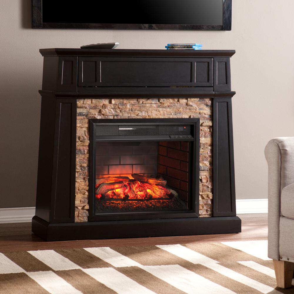 Buffalo 44.25 in. Faux Stone Infrared Media Electric Fireplace TV Stand