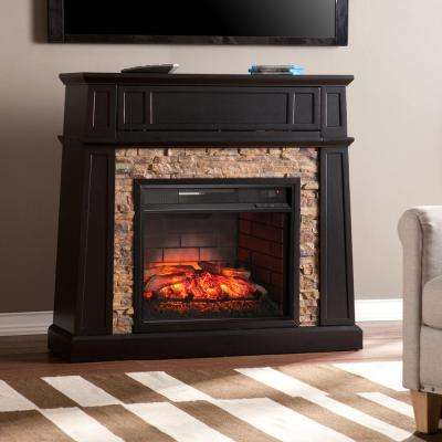 Buffalo 44.25 in. Faux Stone Infrared Media Electric Fireplace TV Stand in Black