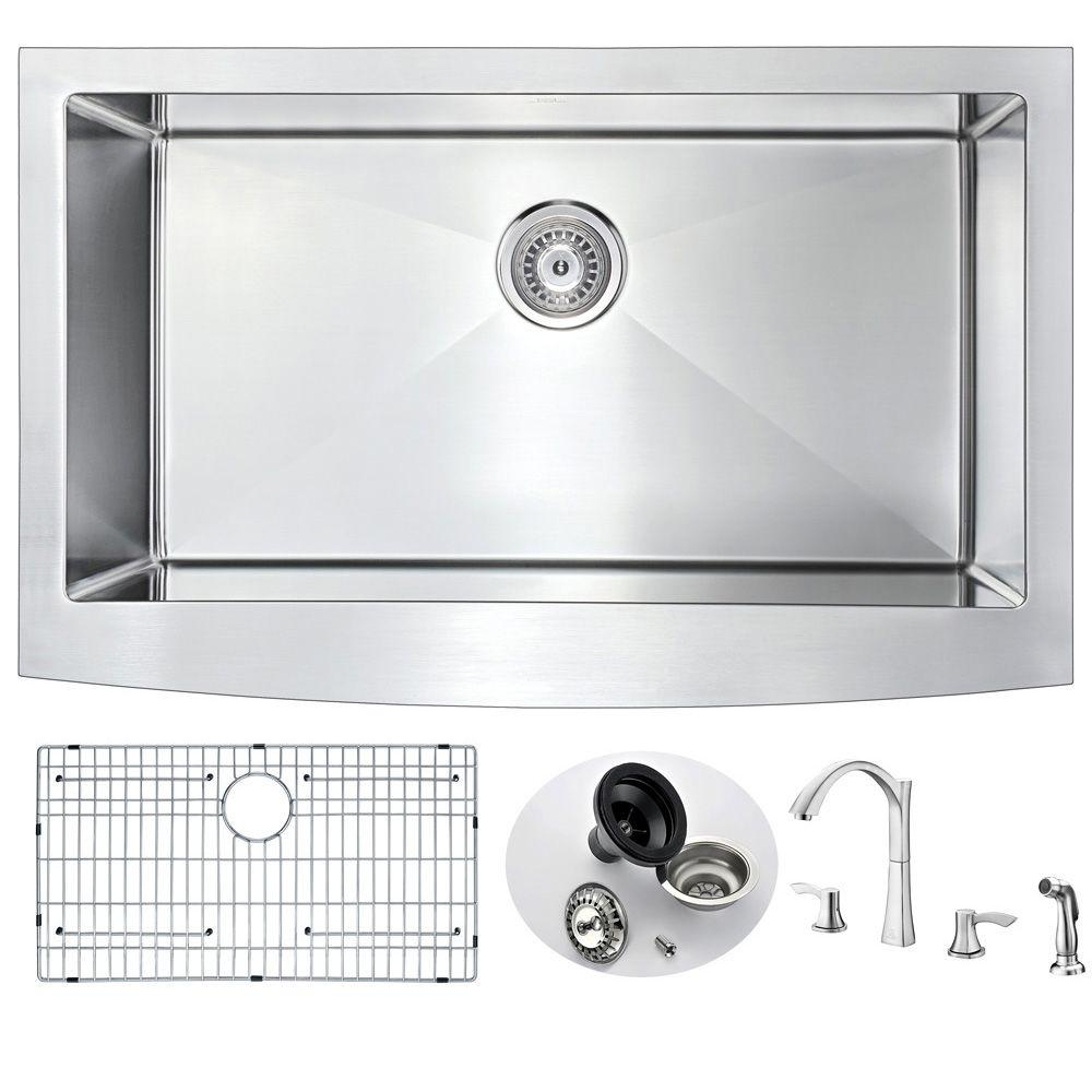 Anzzi Elysian Farmhouse Stainless Steel 36 In Single Bowl Kitchen Sink With Faucet Brushed