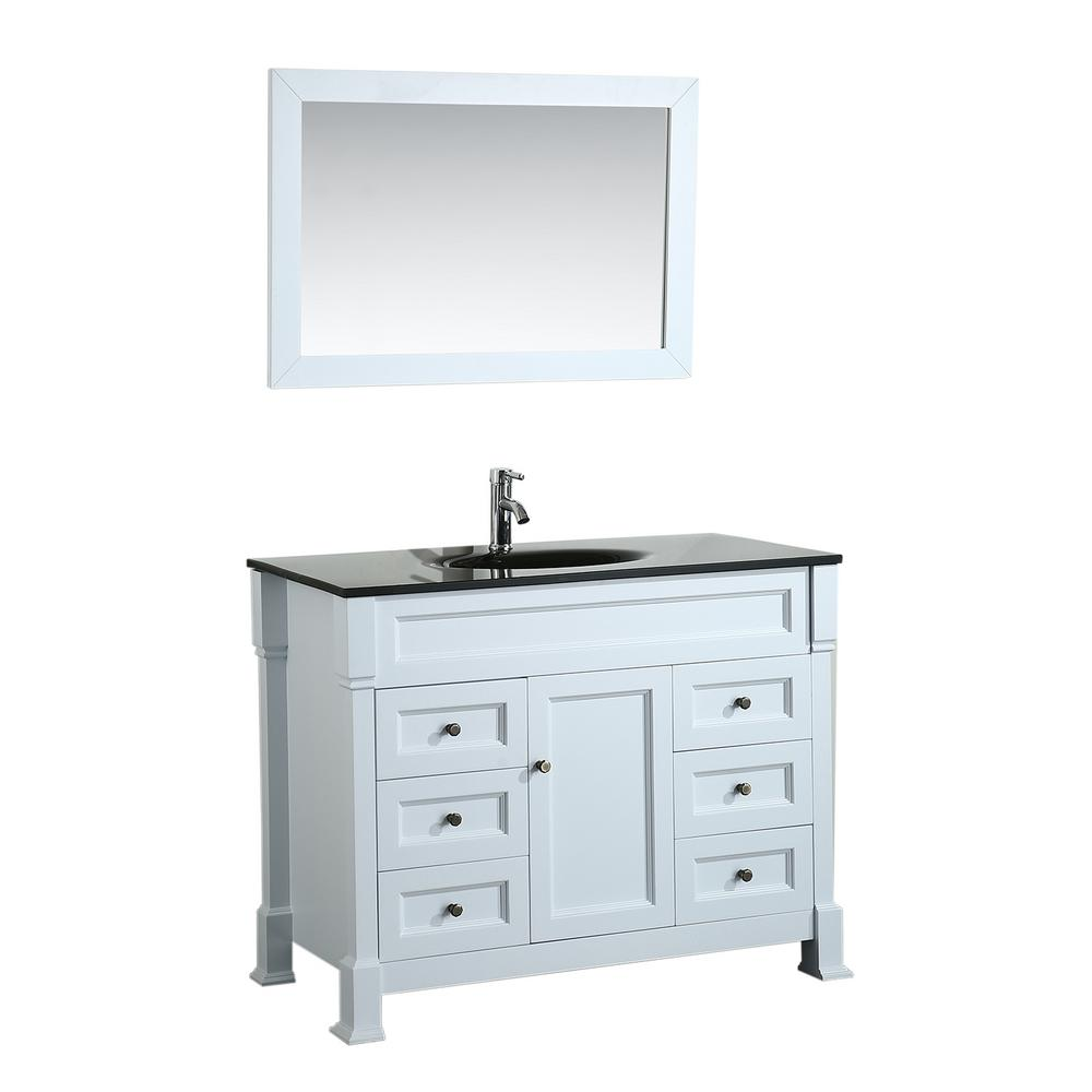 Bosconi Bosconi 43 in. W Single Bath Vanity in White with Tempered Glass Vanity Top in Black with Black Basin and Mirror