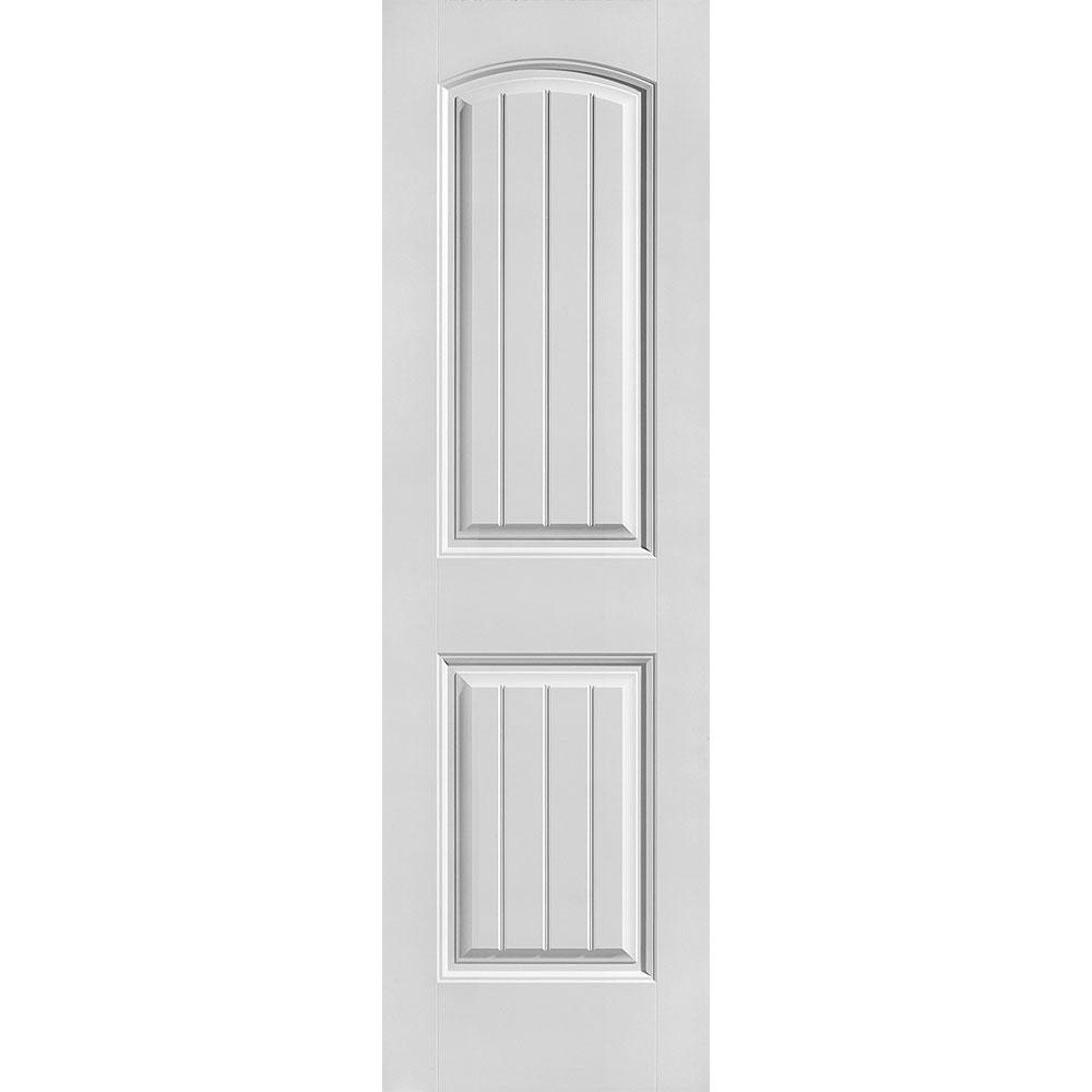 Masonite 24 in. x 80 in. Cheyenne Smooth 2-Panel Camber Top Plank Hollow Core Primed Composite Interior Door Slab