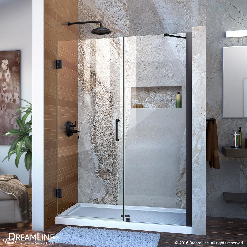 Unidoor 52 in. to 53 in. x 72 in. Semi-Frameless Hinged Shower Door in Satin Black with Handle in Black