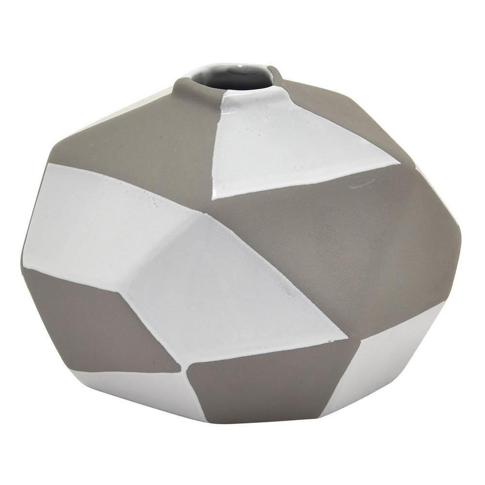 THREE HANDS 5.25 in. Gray Ceramic Vase
