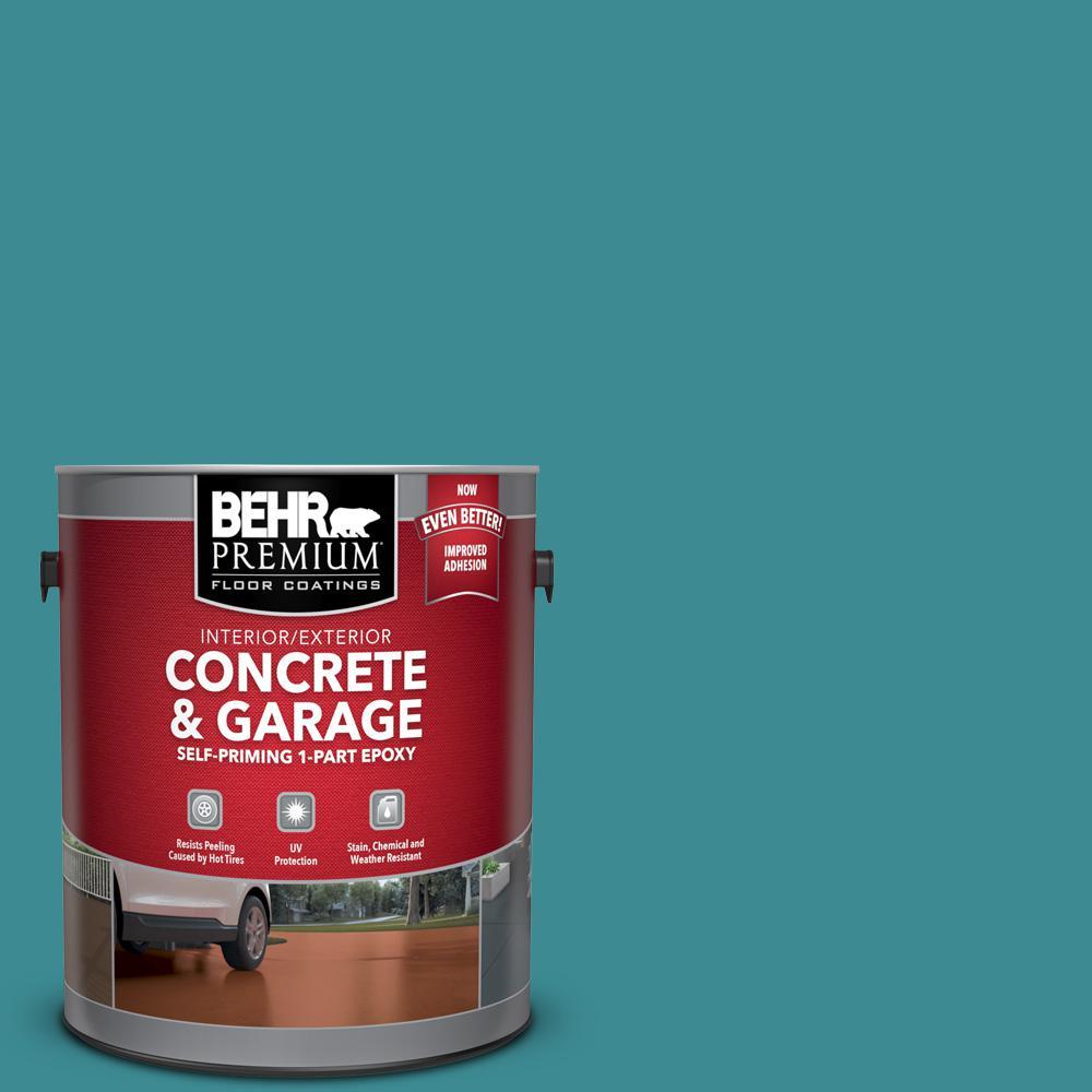 1 gal. #PFC-49 Heritage Teal Self-Priming 1-Part Epoxy Satin Interior/Exterior Concrete and Garage Floor Paint